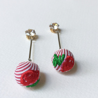 Stud Earrings - Rose Bauble Drop