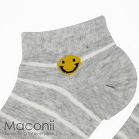 Socks - Smiley Face Stripe Grey