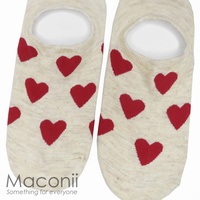 Socks - Heart Pattern Beige