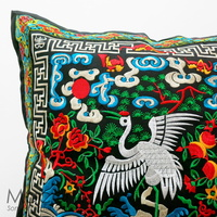 Embroidered Cushion Cover - Crane #001