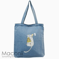 Artemis The Pizza Thief Denim Tote Bag