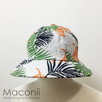 Bucket Hats - Mixed Palm Leaves White