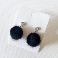 Stud Earrings - Fluffy Black