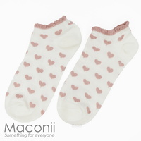 Socks - Heart Pattern Frill White