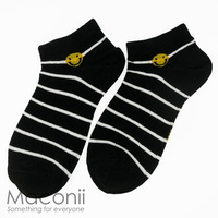 Socks - Smiley Face Stripe Black