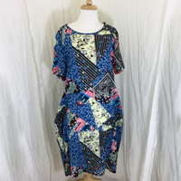 Casual Pattern Dress - Blue floral patches
