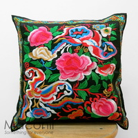 Embroidered Cushion Cover - Floral Butterfly #002